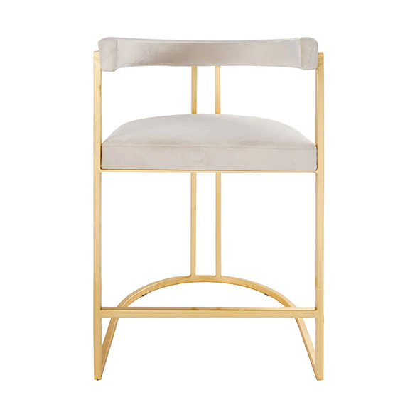 Worlds Away Cromwell Metal and Velvet Counter Stool - Matthew Izzo Home