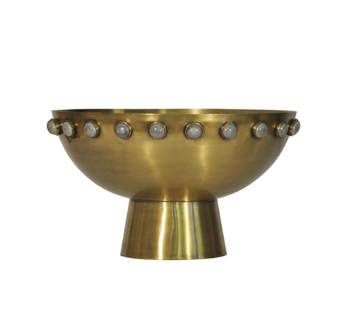 Worlds Away Harvey Antique Brass Bowl with Stone Detail - Matthew Izzo Home