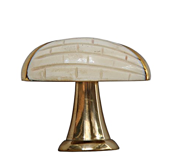Worlds Away Hive Scored Oval Knob with Brass Detail - Matthew Izzo Home