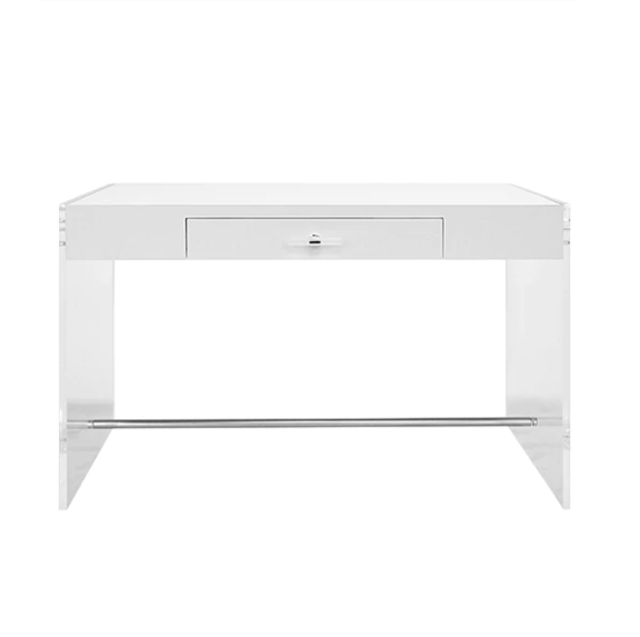 Worlds Away Lennon White Lacquer Desk - Matthew Izzo Home
