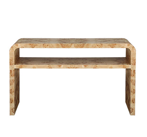 Worlds Away Marshall Two Tier Burl Wood Console - Matthew Izzo Home