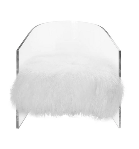 Worlds Away Maggie Acrylic Barrel Chair with White Mongolian Fur - Matthew Izzo Home