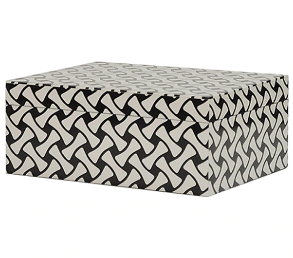 Worlds Away Mika Black and White Weave Box - Matthew Izzo Home