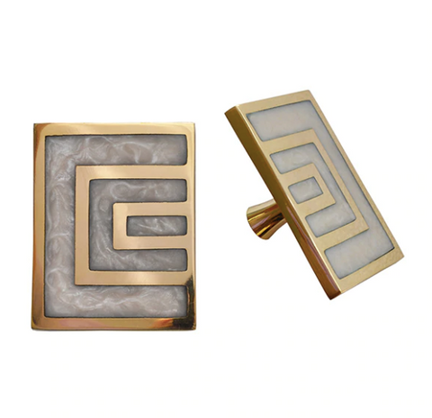Worlds Away Moira Geometric Brass Knob Pair - Matthew Izzo Home