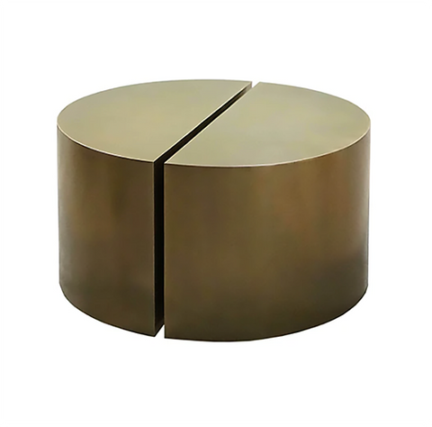 Worlds Away Webster Antique Brass Semi Circle Pair Coffee Table - Matthew Izzo Home