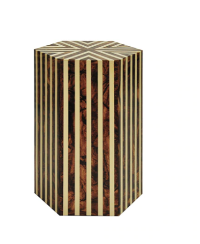 Worlds Away Zane Striped Hexagon Side Table, Brown 'Horn' and Off White - Matthew Izzo Home