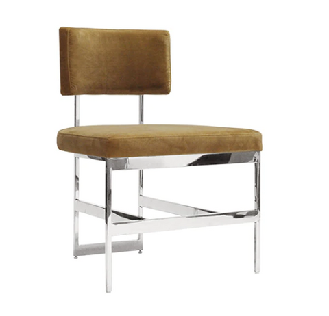 Worlds Away Shaw Camel Velvet and Metal Dining Chair - Matthew Izzo Home