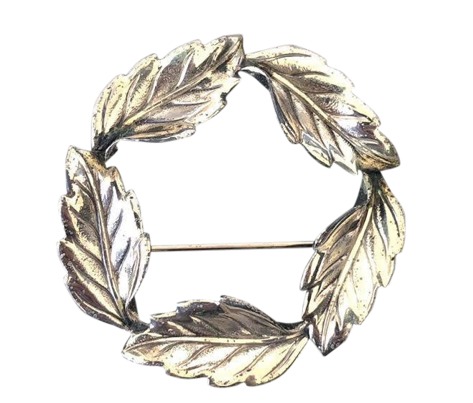Beau Sterling Leaf Circle Pin - Matthew Izzo Home