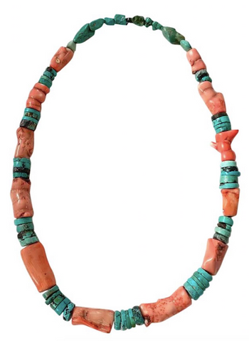 Vintage Turquoise and Coral Necklace - Matthew Izzo Home