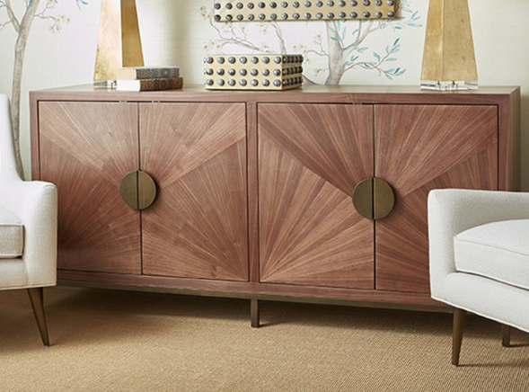 Worlds Away Emory Walnut Buffet Cabinet - Matthew Izzo Home