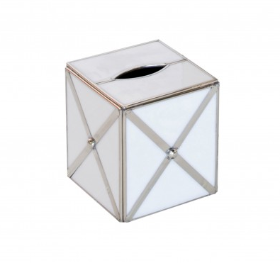 Worlds Away Kleenex Box with Silver Crosshatch - Matthew Izzo Home