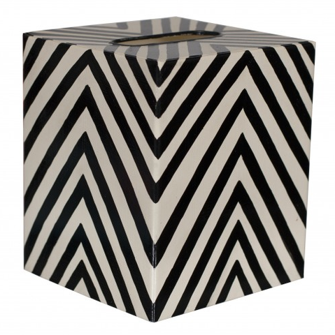 Worlds Away Kleenex Zebra Pattern Box - Matthew Izzo Home