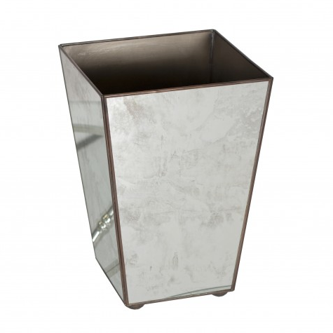 Worlds Away Antique Mirror Square Wastebasket Plain - Matthew Izzo Home