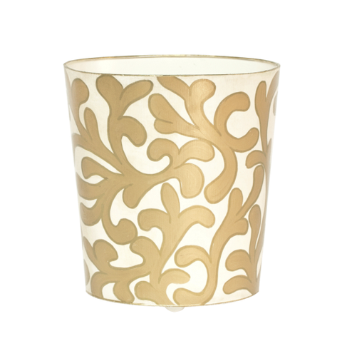 Worlds Away Oval Wastebasket Cream and Gold - Matthew Izzo Home