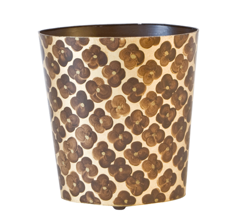 Worlds Away Oval Wastebasket Brown and Gold - Matthew Izzo Home