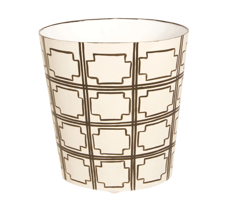 Worlds Away Oval Wastebasket Brown and Cream - Matthew Izzo Home