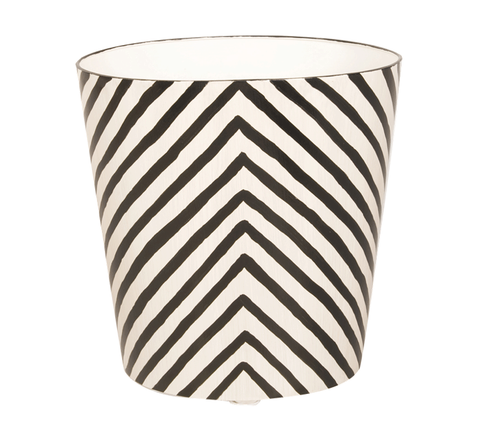 Worlds Away Oval Wastebasket Zebra Pattern - Matthew Izzo Home