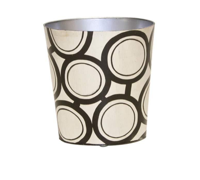 Worlds Away Oval Wastebasket Circle Design - Matthew Izzo Home