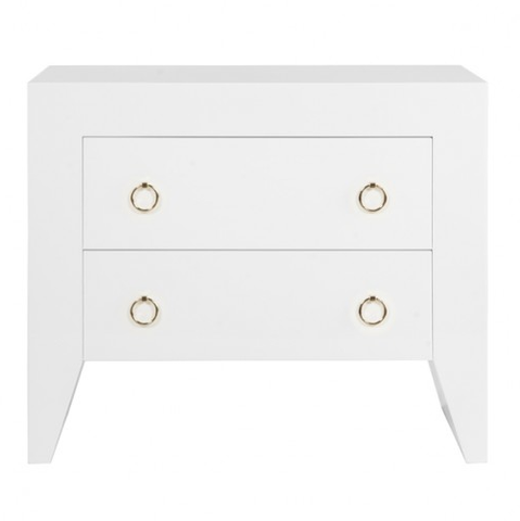 Worlds Away Easton White Lacquer Side Table - Matthew Izzo Home