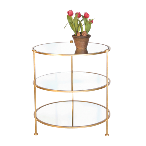 Worlds Away 3-Tier Gold Leaf Side Table - Matthew Izzo Home