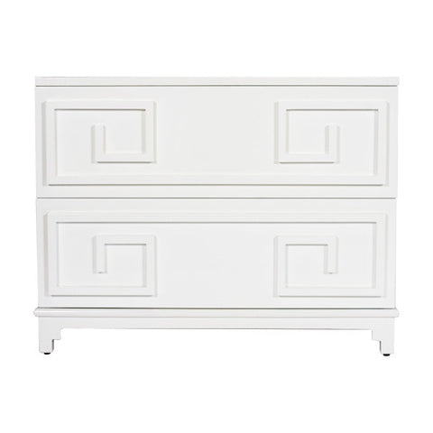 Worlds Away Wrenfield White Lacquer 2 Drawer Chest - Matthew Izzo Home