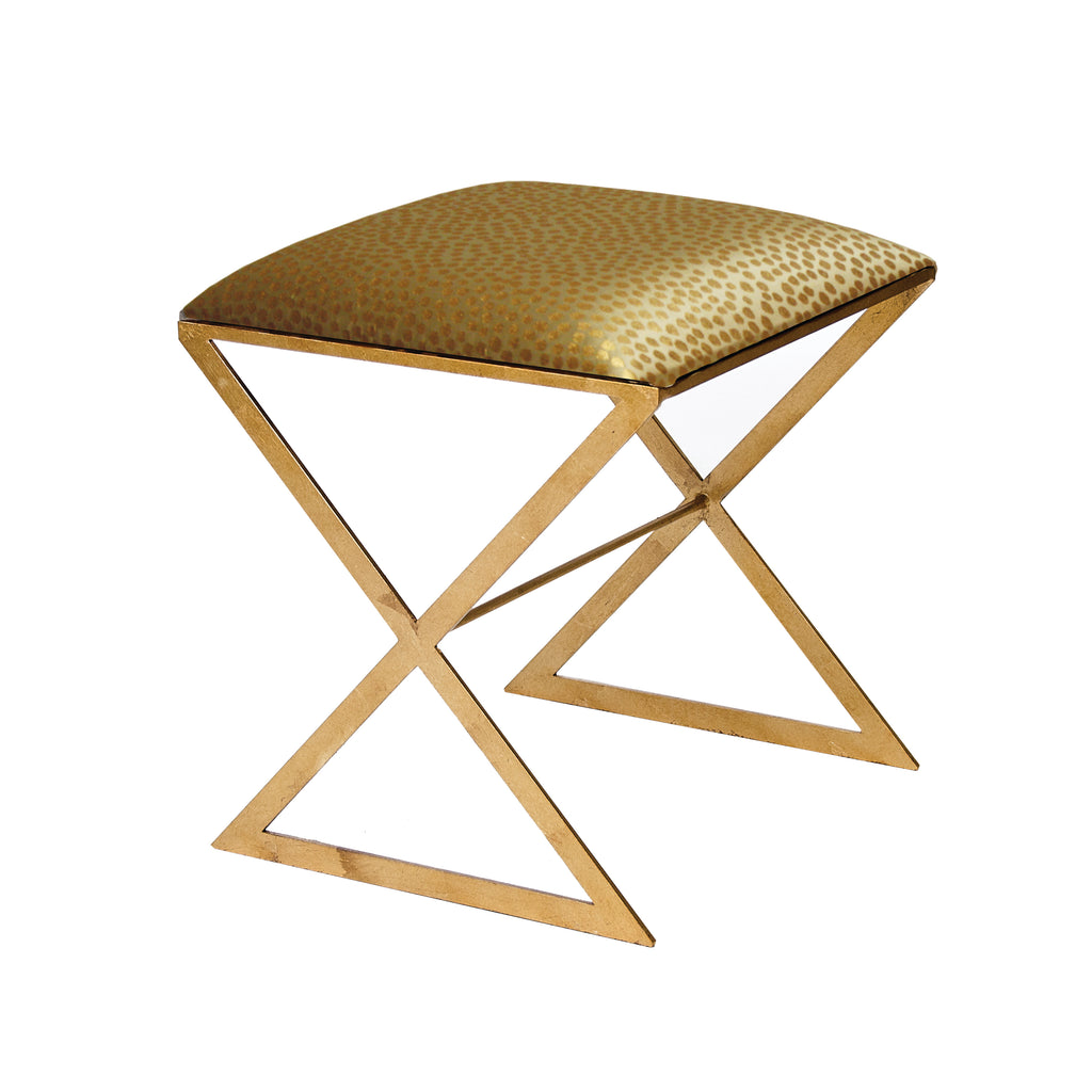"Worlds Away ""X""  Metal Side Stool with Upholstered Cushion - Matthew Izzo Home"