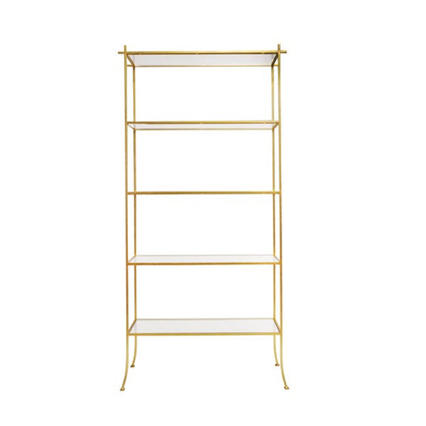 Worlds Away Alcott Gold Leaf Etagere Gold or Silver - Matthew Izzo Home