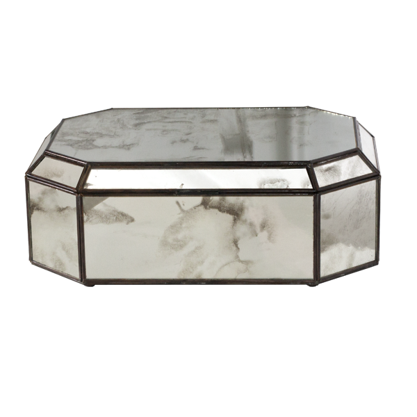 Worlds Away Octagonal Antique Mirror Box - Matthew Izzo Home