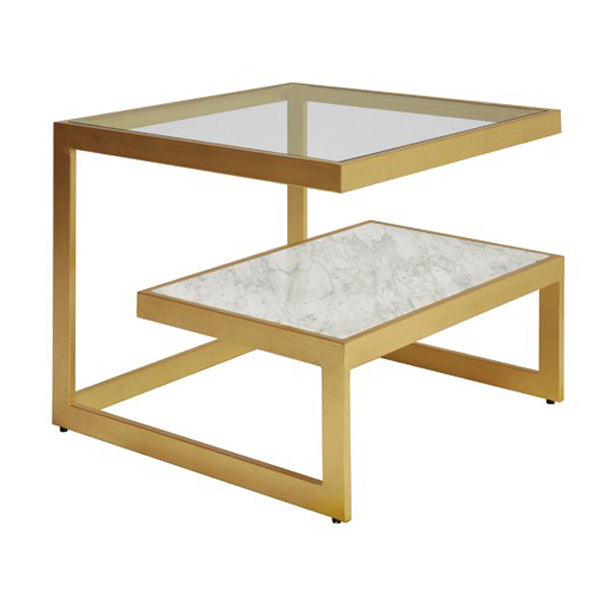 Worlds Away Beacon Two Tier Marble And Glass Coffee Table