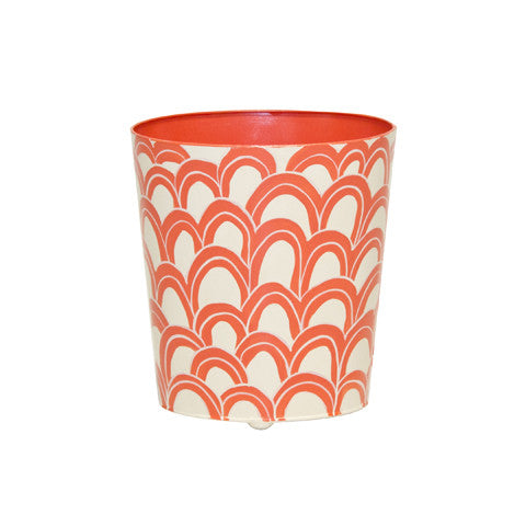 Worlds Away Oval Wastebasket Orange/Navy Cream - Matthew Izzo Home