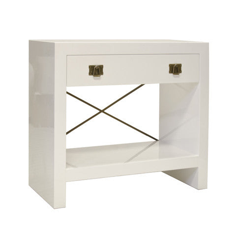 Worlds Away Dalton Rosewood/White Nightstand - Matthew Izzo Home