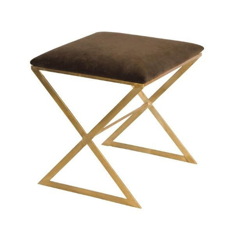 "Worlds Away Upholstered ""X"" Stool - Matthew Izzo Home"