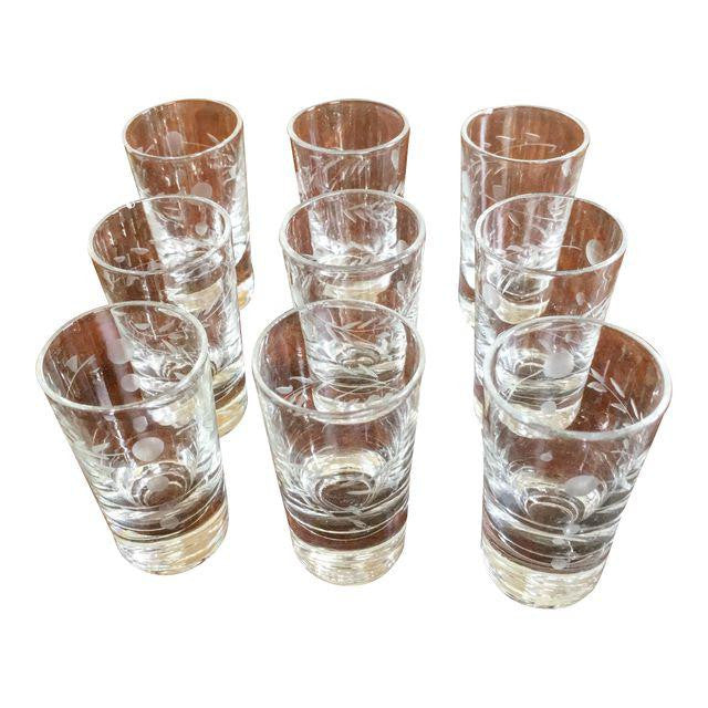 Petite Etched Schnapps Glasses - Set of 9 - Matthew Izzo Home