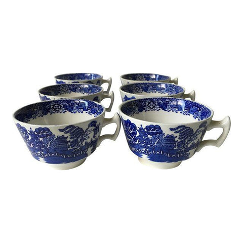 Vintage Woods of England Blue Willow Cups - S/6 - Matthew Izzo Home