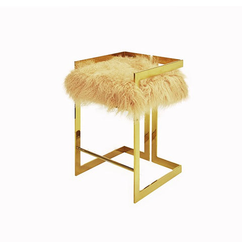 Worlds Away Emmet Counter-Height Mongolian Fur Stool - Matthew Izzo Home