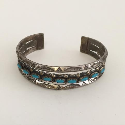 Antique Silver and Turquoise Navajo Cuff - Matthew Izzo Home