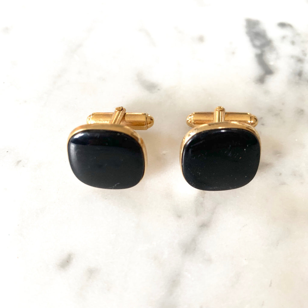 1960s Onyx Cufflinks - Matthew Izzo Home