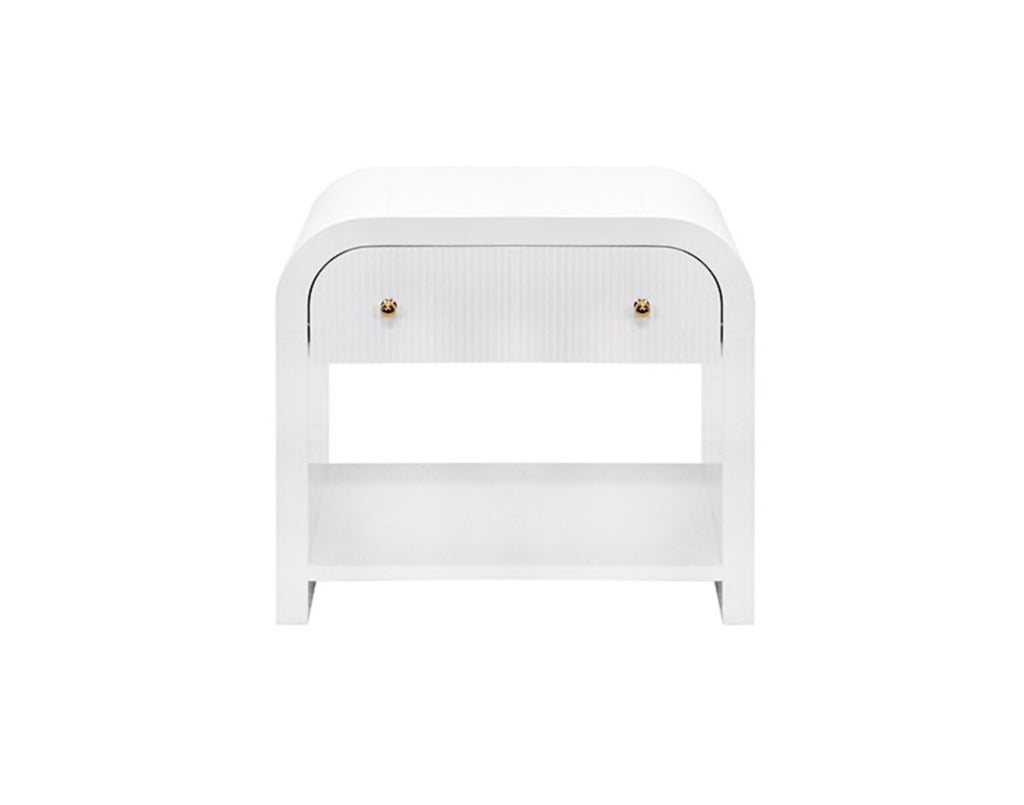 Worlds Away Esther White Waterfall Side Table - Matthew Izzo Home