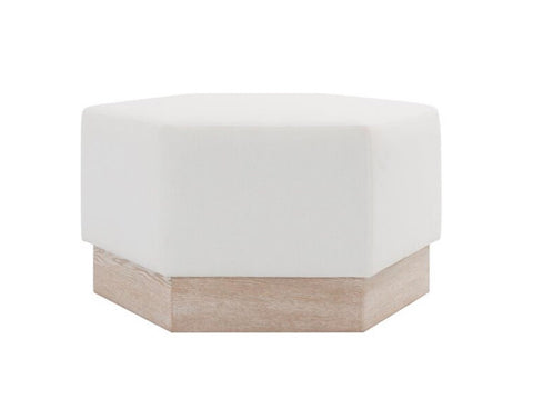 Worlds Away Myra Oak Base Ottoman - Matthew Izzo Home