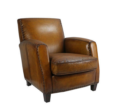 Baccarat Camel Leather Club Chair - Matthew Izzo Home