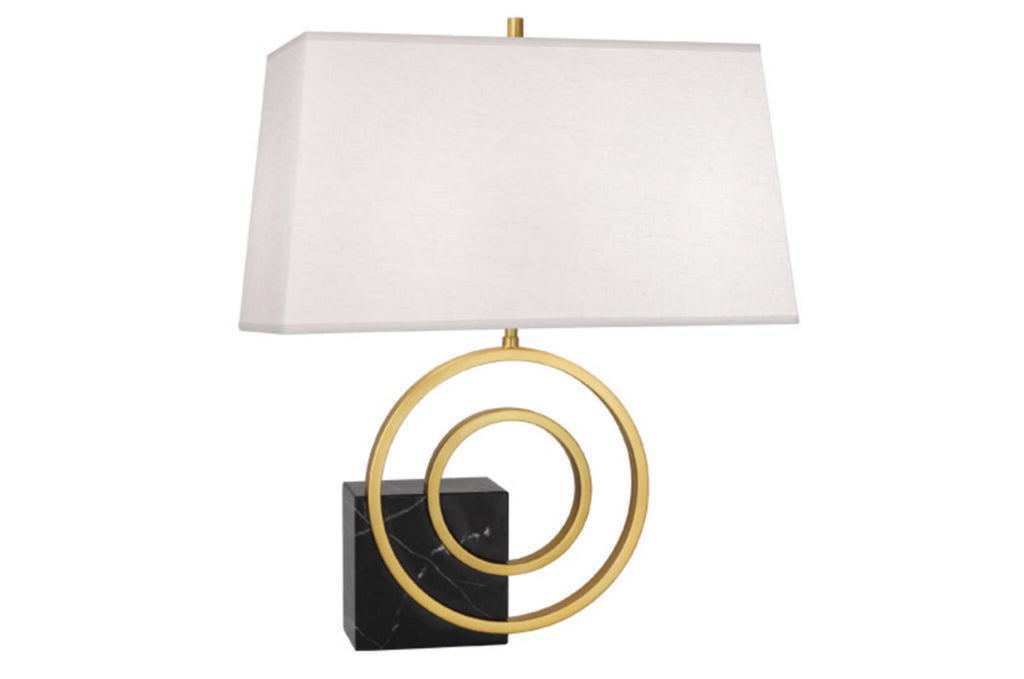 Saturn Black Marble/Brass/Linen Table Lamp - Matthew Izzo Home
