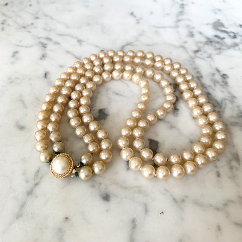 1950s Trifari Glass Pearl Necklace - Matthew Izzo Home