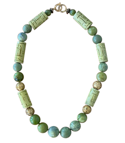Vintage Yellow/Green/Turquoise Chinese Necklace - Matthew Izzo Home