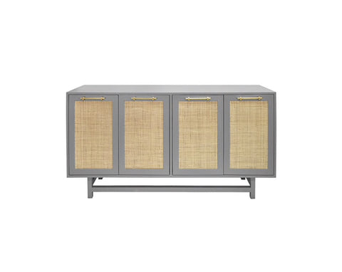 Worlds Away Macon Grey Lacquer Buffet Cabinet - Matthew Izzo Home