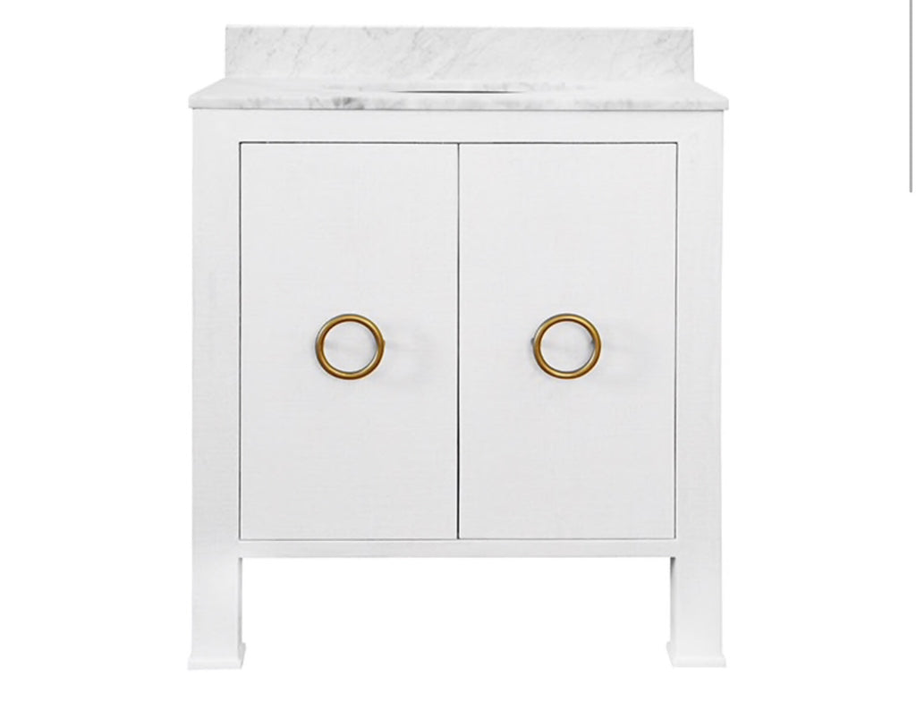 Worlds Away Blanche White Bath Vanity