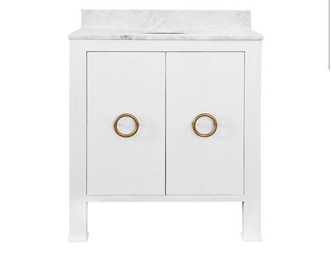 Worlds Away Blanche White Bath Vanity - Matthew Izzo Home