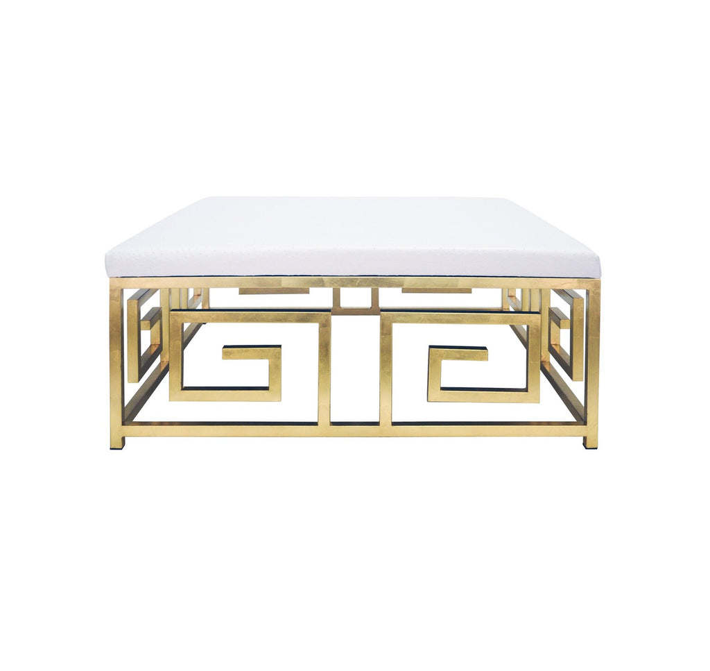 Worlds Away Eileen White Greek Key Ottoman - Matthew Izzo Home