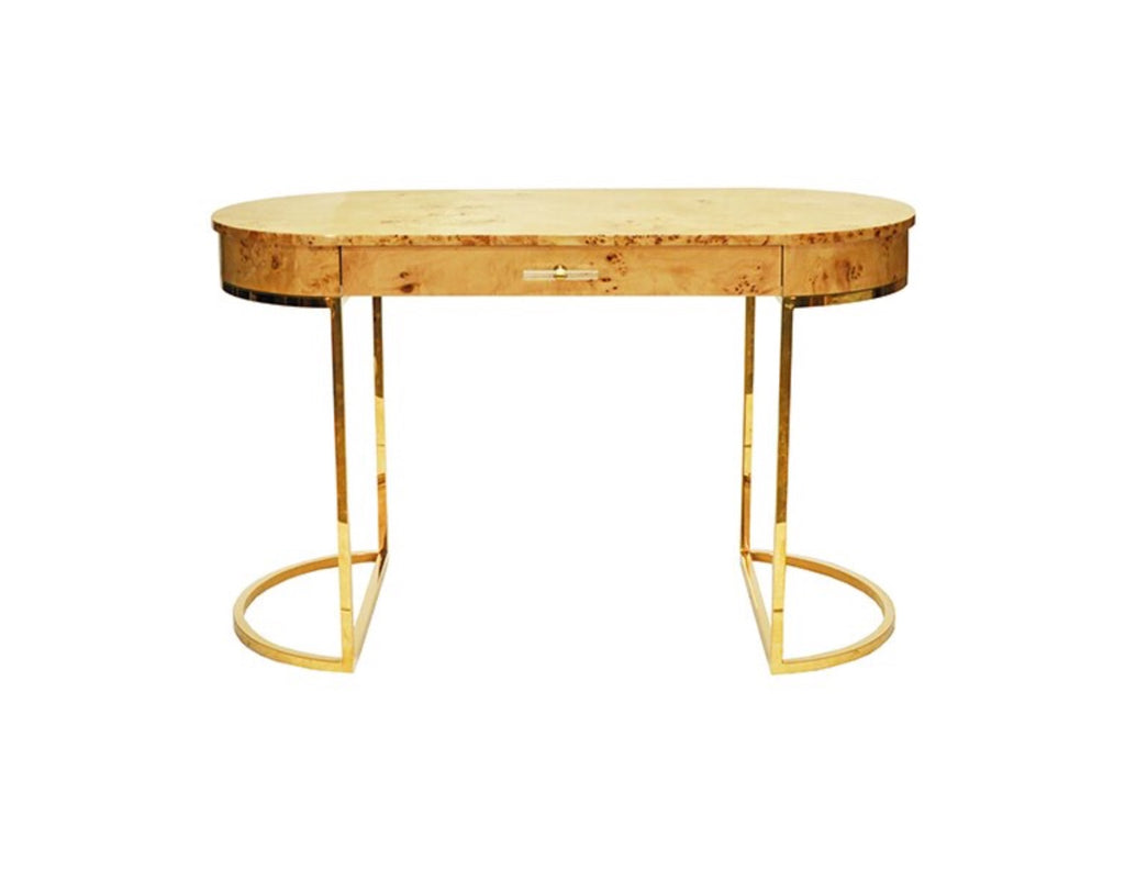 Worlds Away Corbett Burl Wood Oval Desk - Matthew Izzo Home