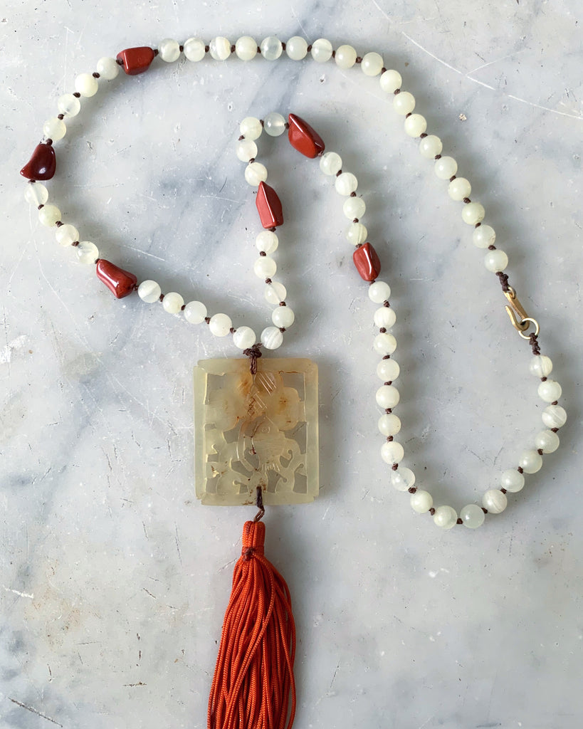 Antique White Jade and Jasper Necklace with Jade Pendant