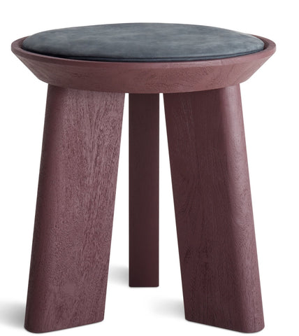 Blu Dot Mimi Modern Oxblood/Ink Leather Stool - Matthew Izzo Home